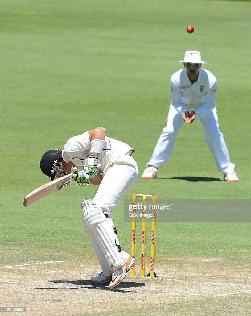 AFRICA - JANUARY 13, Martin Guptill of New Zealand evades a youncer during day 3 of the 2nd Test match between South Africa and New Zealand at Axxess St Georges on January 13, 2013 in Port Elizabeth, South Africa.