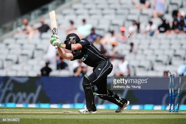 Martin Guptill of New Zealand is bowled by Kagiso Rabada of South Africa during game five of the One Day International series between New Zealand and...