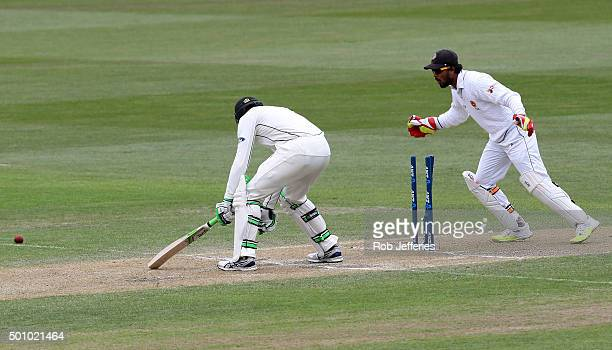 Martin Guptill of New Zealand is bowled by Rangana Herath of Sri Lanka during day three of the First Test match between New Zealand and Sri Lanka at...
