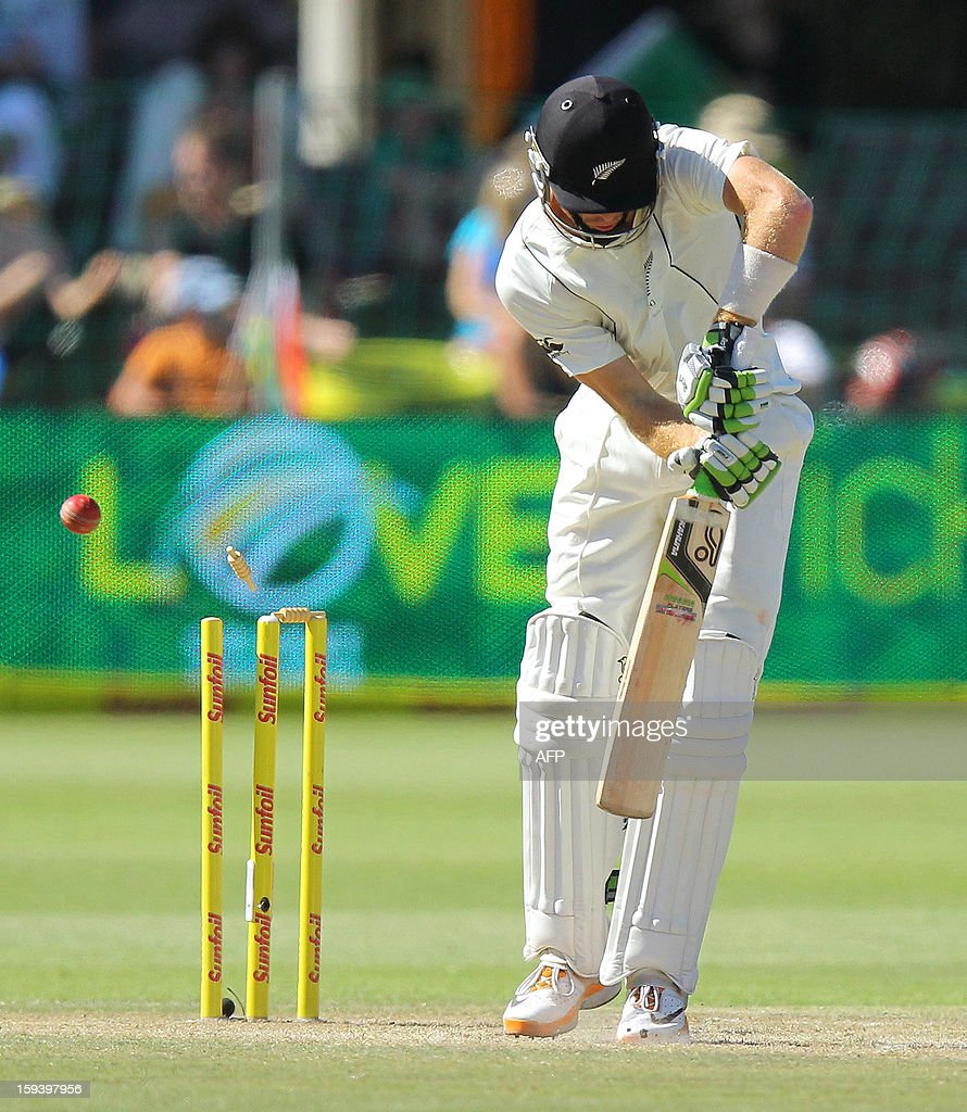 Martin Guptill of New Zealand is clean bowled by Rory Kelinveldt for 48 runs on the third day of the second and final test match between South Africa and New Zealand at the Axxess St George's Cricket Stadium on January 13, 2013 in Port Elizabeth. AFP Photo / Anesh Debiky