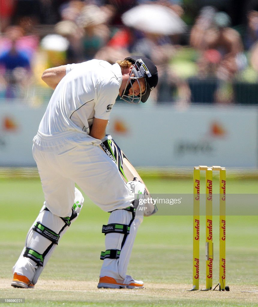 Martin Guptill of New Zealand is hit on the shoulder on the third day of the second and final test match between South Africa and New Zealand at the Axxess St George's Cricket Stadium on January 13, 2013 in Port Elizabeth. AFP Photo / Anesh Debiky