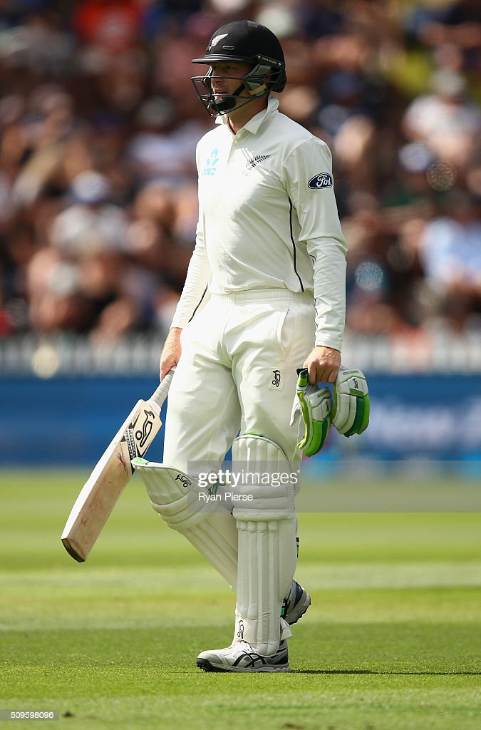 <a gi-track='captionPersonalityLinkClicked' href=/galleries/search?phrase=Martin+Guptill&family=editorial&specificpeople=797559 ng-click='$event.stopPropagation()'>Martin Guptill</a> of New Zealand looks dejected after being dismissed by Josh Hazlewood of Australia during day one of the Test match between New Zealand and Australia at Basin Reserve on February 12, 2016 in Wellington, New Zealand.