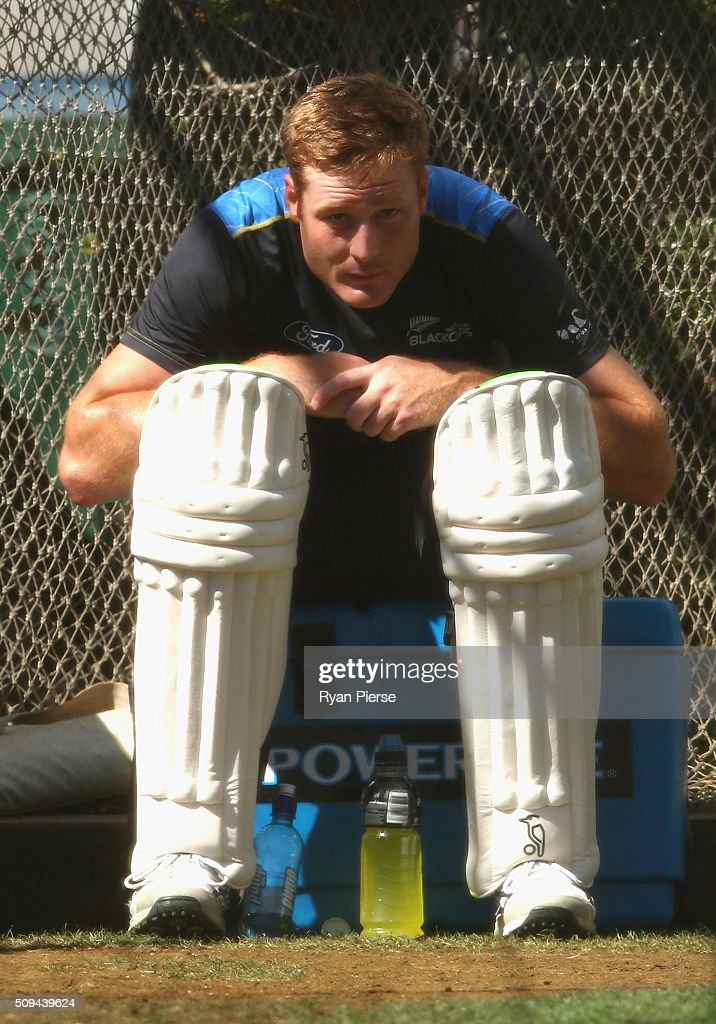 <a gi-track='captionPersonalityLinkClicked' href=/galleries/search?phrase=Martin+Guptill&family=editorial&specificpeople=797559 ng-click='$event.stopPropagation()'>Martin Guptill</a> of New Zealand looks on during a New Zealand nets session at Basin Reserve on February 11, 2016 in Wellington, New Zealand.