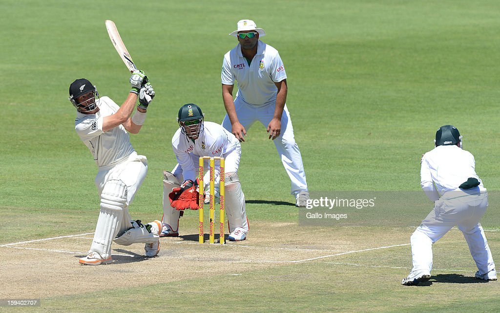 AFRICA - JANUARY 13, Martin Guptill of New Zealand plays to square-leg during day 3 of the 2nd Test match between South Africa and New Zealand at Axxess St Georges on January 13, 2013 in Port Elizabeth, South Africa.