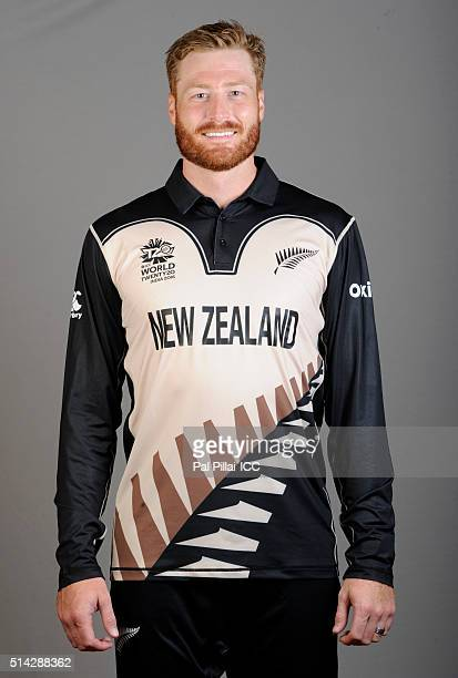 Martin Guptill of New Zealand poses during the official photocall for the ICC Twenty20 World on March 8 2016 in Mumbai India