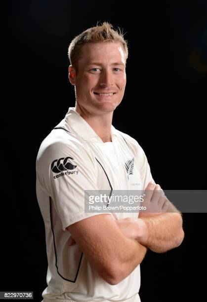Martin Guptill of New Zealand poses for the camera during the New Zealand Cricket Headshots photo session before the Test series against England at...