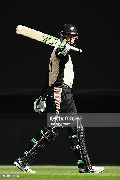Martin Guptill of the Black Caps acknowledges the crowd after being dismissed during the Twenty20 International match between New Zealand and Sri...