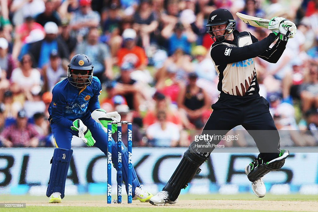 <a gi-track='captionPersonalityLinkClicked' href=/galleries/search?phrase=Martin+Guptill&family=editorial&specificpeople=797559 ng-click='$event.stopPropagation()'>Martin Guptill</a> of the Black Caps plays the ball away for four runs during the Twenty20 match between New Zealand and Sri Lanka at Bay Oval on January 7, 2016 in Mount Maunganui, New Zealand.