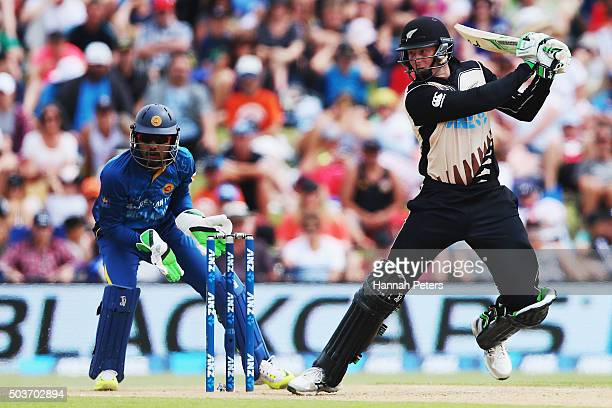 Martin Guptill of the Black Caps plays the ball away for four runs during the Twenty20 match between New Zealand and Sri Lanka at Bay Oval on January...