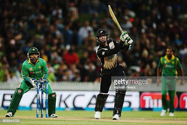 Martin Guptill of the Black Caps plays the ball away for four runs during the International Twenty20 match between New Zealand and Pakistan at Seddon...