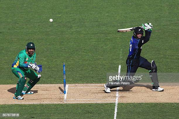 Martin Guptill of the Black Caps plays the ball away for four runs during the One Day International match between New Zealand and Pakistan at Eden...