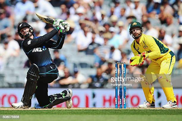 Martin Guptill of the Black Caps plays the ball away for six runs during the One Day International match between New Zealand and Australia at Eden...