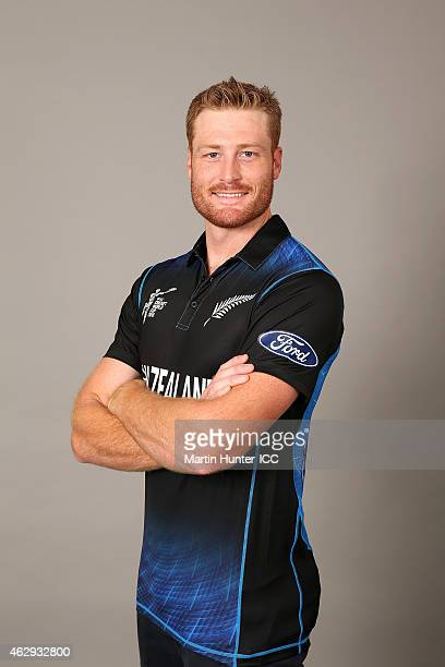Martin Guptill poses during the New Zealand 2015 ICC Cricket World Cup Headshots Session at the Rydges Latimer on February 7 2015 in Christchurch New...