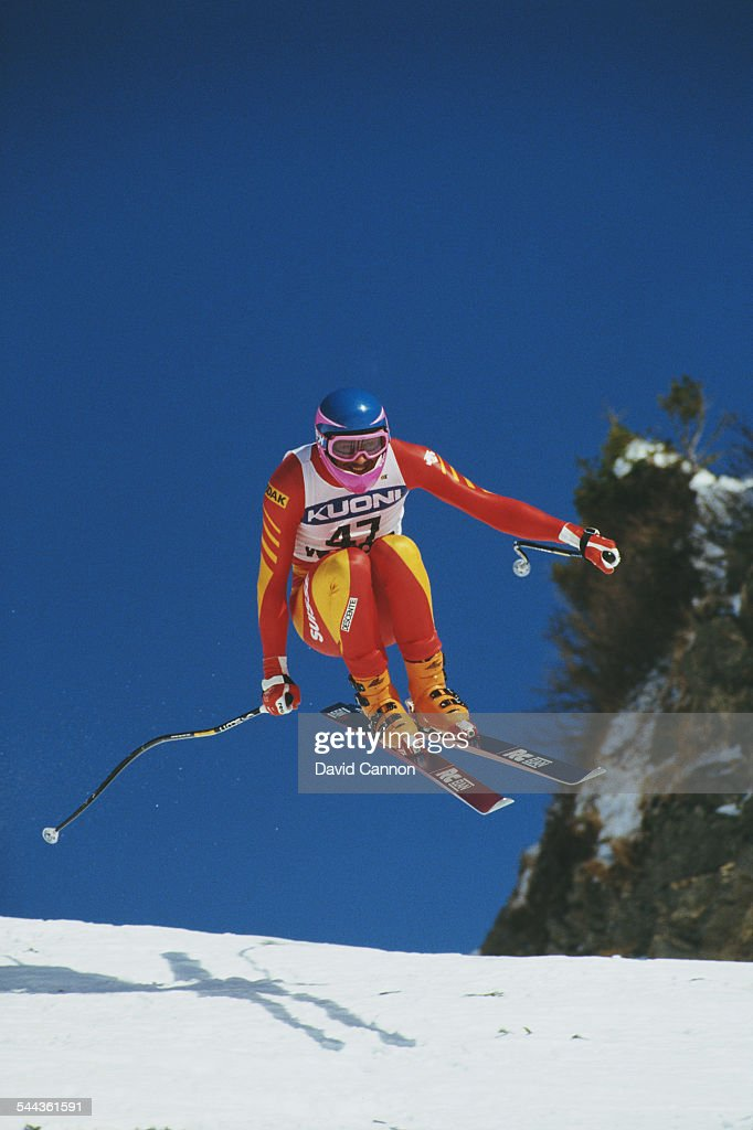Martin Hangl of Switzerland during the International Ski Federation Men's downhill at the Alpine Skiing World Cup event on 17 January 1987 in...