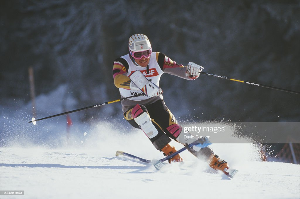 Martin Hangl of Switzerland during the International Ski Federation Men's Slalom at the FIS Alpine World Ski Championship on 8 February 1987 in Crans...