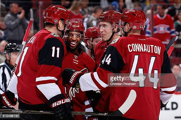 Martin Hanzal Anthony Duclair Max Domi Michael Stone and Kevin Connauton of the Arizona Coyotes celebrate after Hanzal scored a first period goal...