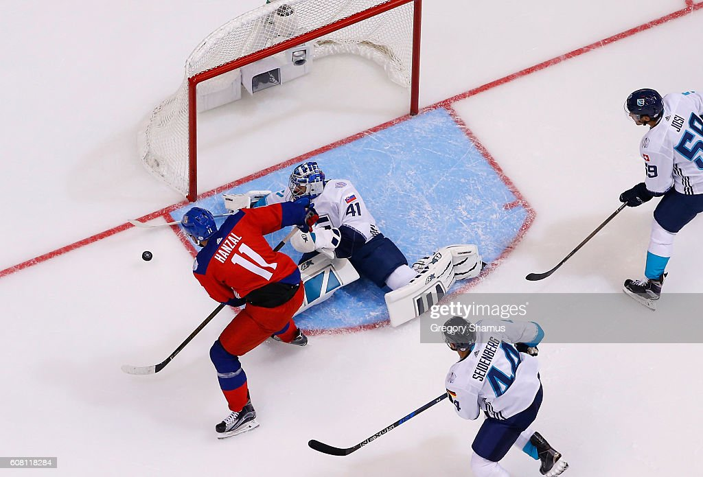 Martin Hanzal #11 of Team Czech Republic just prior to scoring a second period goal past Jaroslav Halak #41 of Team Europe during the World Cup of Hockey at the Air Canada Center on September 19, 2016 in Toronto, Canada. Team Europe won the game 3-2 in overtime.
