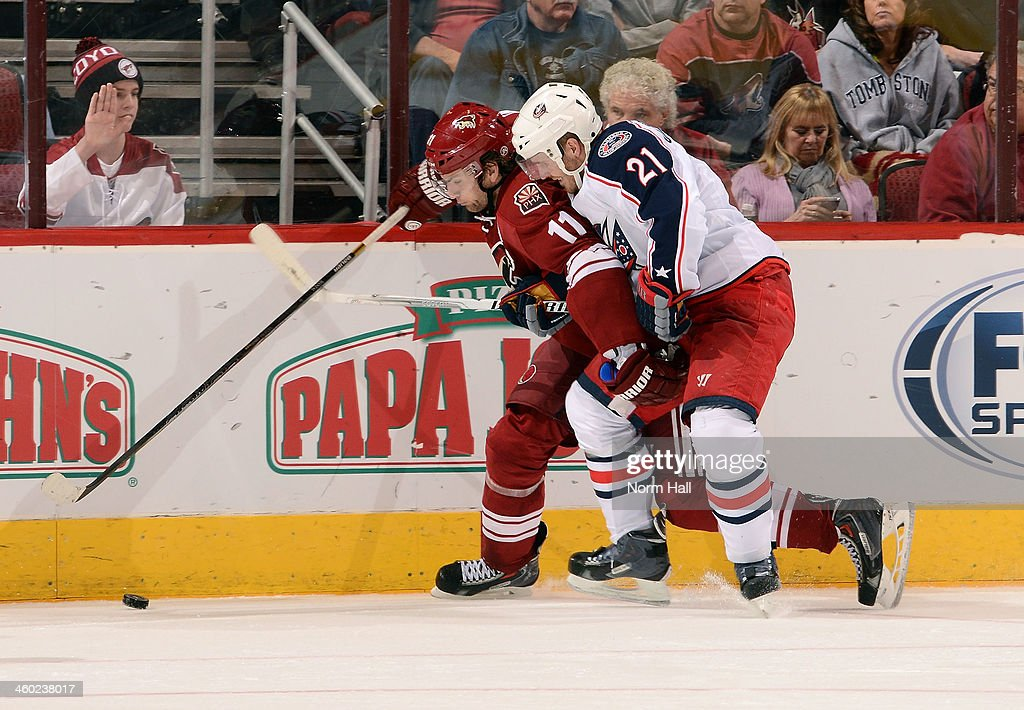 <a gi-track='captionPersonalityLinkClicked' href=/galleries/search?phrase=Martin+Hanzal&family=editorial&specificpeople=2109469 ng-click='$event.stopPropagation()'>Martin Hanzal</a> #11 of the Phoenix Coyotes and <a gi-track='captionPersonalityLinkClicked' href=/galleries/search?phrase=James+Wisniewski&family=editorial&specificpeople=688111 ng-click='$event.stopPropagation()'>James Wisniewski</a> #21 of the Columbus Blue Jackets battle for the puck along the boards during the third period at Jobing.com Arena on January 2, 2014 in Glendale, Arizona.