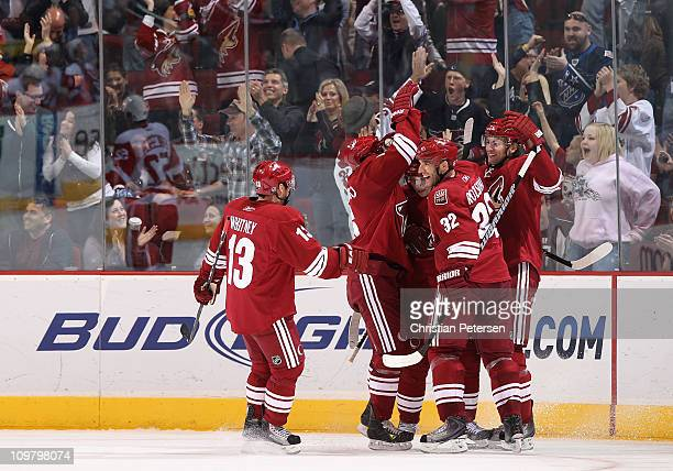 Martin Hanzal of the Phoenix Coyotes celebrates with teammates Ray Whitney David Schlemko Radim Vrbata and Michal Rozsival after Hanzal scored a late...