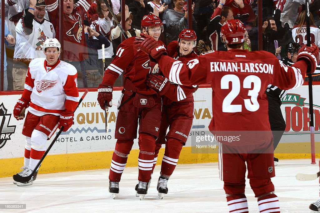 Martin Hanzal #11, Radim Vrbata #17 and Oliver Ekman-Larsson #23 of the Phoenix Coyotes celebrate a goal against the Detroit Red Wings at Jobing.com Arena on October 19, 2013 in Glendale, Arizona.