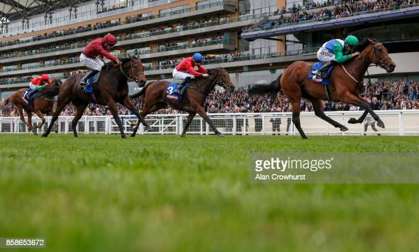 Martin Harley riding One Master win The Totepool British EBF October Stakes at Ascot racecourse on October 7 2017 in Ascot United Kingdom