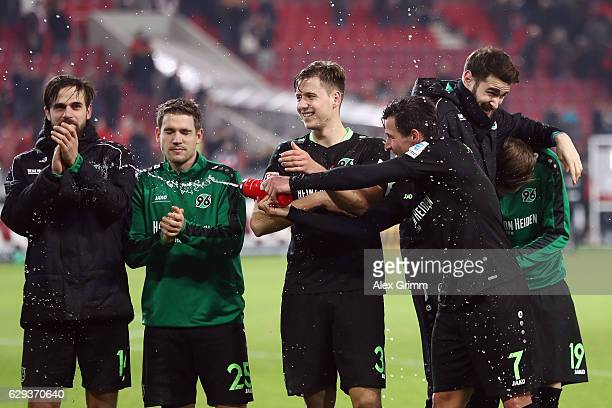 Martin Harnik and team mates of Hannover celebrate after the Second Bundesliga match between VfB Stuttgart and Hannover 96 at MercedesBenz Arena on...