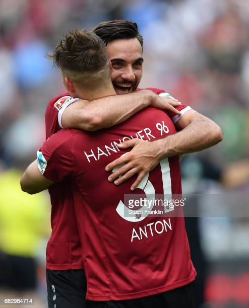 Martin Harnik and Waldemar Anton of Hannover celebrate after the Second Bundesliga match between Hannover 96 and VfB Stuttgart at HDIArena on May 14...