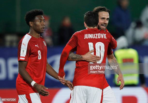 Martin Harnik of Austria is congratulated by David Alaba and Zlatko Junuzovic after scoring the second goal during the Austria v Moldavia 2018 FIFA...
