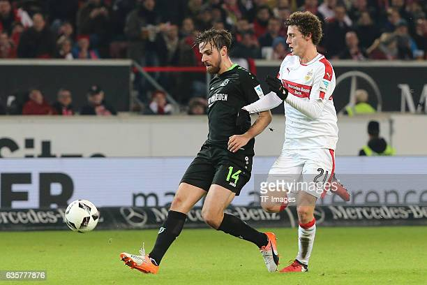 Martin Harnik of Hannover 96 and Benjamin Pavard of Stuttgart battle for the ball during the Second Bundesliga match between VfB Stuttgart and...