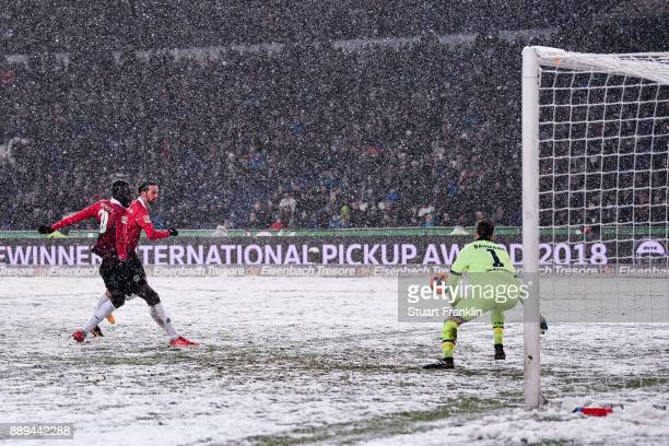 Martin Harnik of Hannover 96 scores with team's second goal to make it 20 during the Bundesliga match between Hannover 96 and TSG 1899 Hoffenheim at...