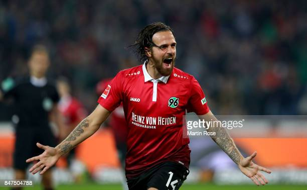 Martin Harnik of Hannover celebrates after he scores the openin goal during the Bundesliga match between Hannover 96 and Hamburger SV at HDIArena on...
