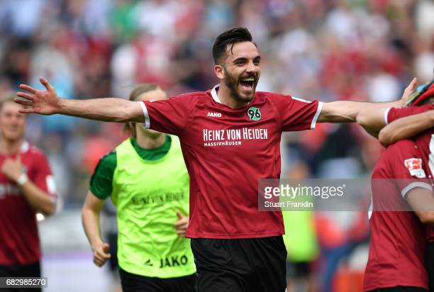 Martin Harnik of Hannover celebrates after the Second Bundesliga match between Hannover 96 and VfB Stuttgart at HDIArena on May 14 2017 in Hanover...