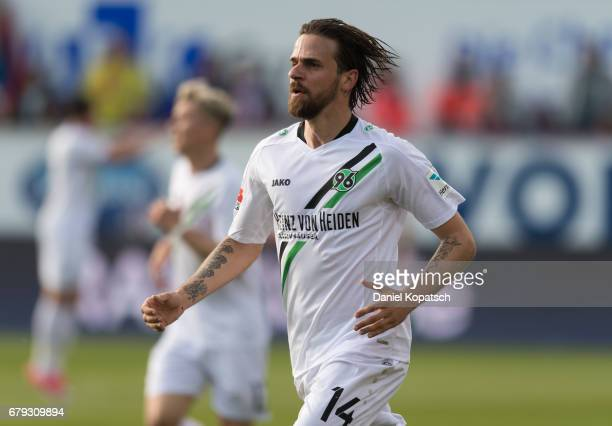 Martin Harnik of Hannover celebrates his team's first goal during the Second Bundesliga match between 1 FC Heidenheim 1846 and Hannover 96 at...