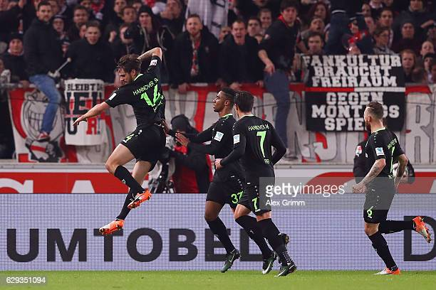 Martin Harnik of Hannover celebrates his team's first goal with team mates during the Second Bundesliga match between VfB Stuttgart and Hannover 96...