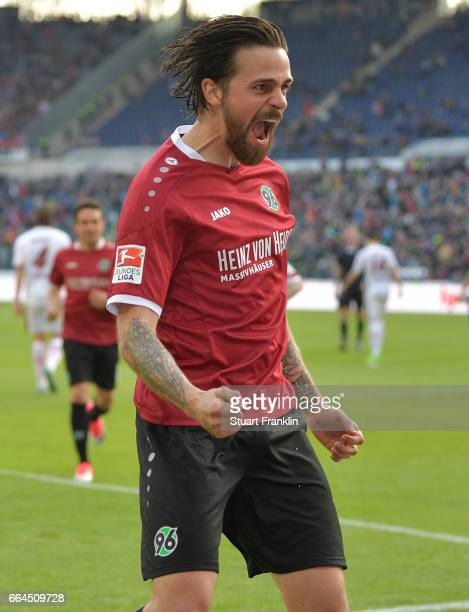 Martin Harnik of Hannover celebrates scoring his goal during the Second Bundesliga match between Hannover 96 and 1 FC Nuernberg at HDIArena on April...