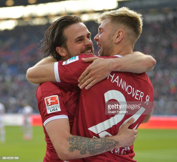 Martin Harnik of Hannover celebrates scoring his goal with Niclas Fllkrug during the Second Bundesliga match between Hannover 96 and 1 FC Nuernberg...