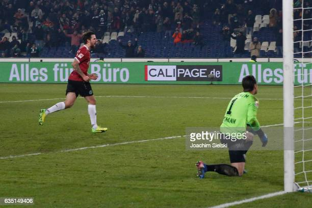 Martin Harnik of Hannover celebration his Goal 21 during the Second Bundesliga match between Hannover 96 and VfL Bochum 1848 at HDIArena on February...