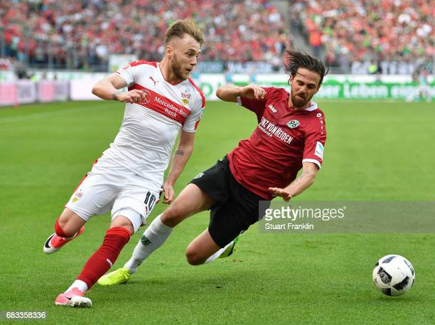 Martin Harnik of Hannover challenges Alexandru Iulian Maxim of Stuttgart during the Second Bundesliga match between Hannover 96 and VfB Stuttgart at...