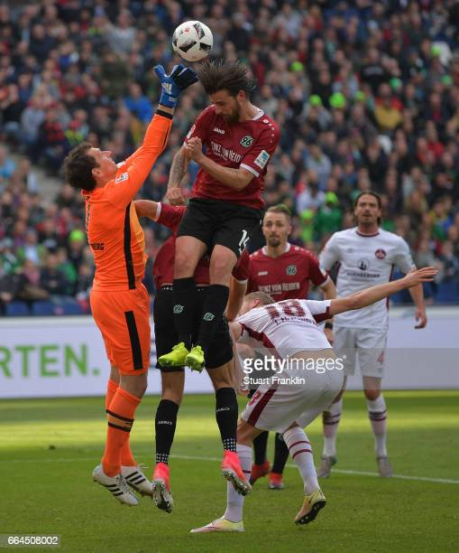 Martin Harnik of Hannover has a shot saved by Raphael Schfer of Nuernberg during the Second Bundesliga match between Hannover 96 and 1 FC Nuernberg...