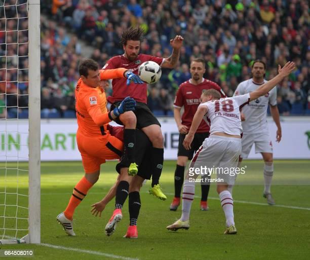 Martin Harnik of Hannover has a shot saved by Raphael Schfer of Nuernberg during the Second Bundesliga match between Hannover 96 and 1 FC Nuernberg...