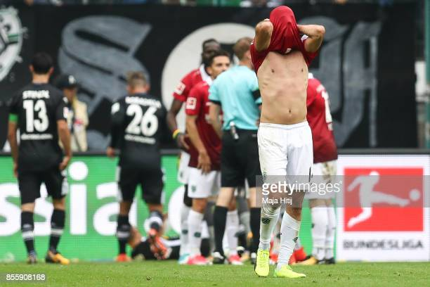 Martin Harnik of Hannover reacts during the Bundesliga match between Borussia Moenchengladbach and Hannover 96 at BorussiaPark on September 30 2017...