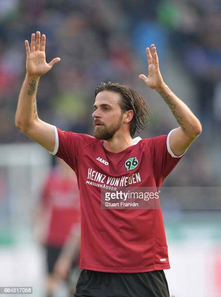 Martin Harnik of Hannover reacts during the Second Bundesliga match between Hannover 96 and 1 FC Nuernberg at HDIArena on April 4 2017 in Hanover...