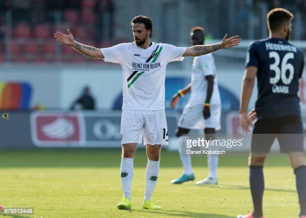 Martin Harnik of Hannover reacts during the Second Bundesliga match between 1 FC Heidenheim 1846 and Hannover 96 at VoithArena on May 5 2017 in...