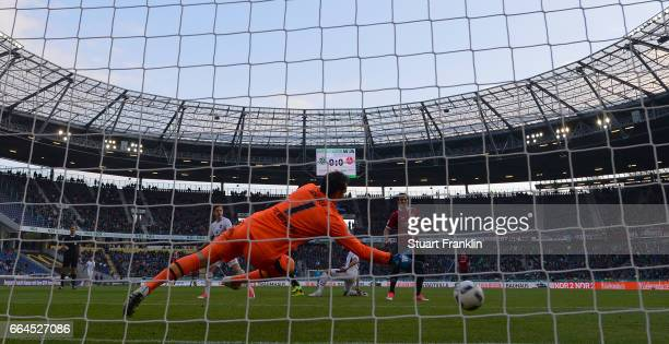 Martin Harnik of Hannover scores his goal during the Second Bundesliga match between Hannover 96 and 1 FC Nuernberg at HDIArena on April 4 2017 in...