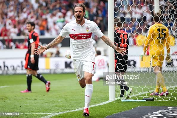 Martin Harnik of Stuttgart celebrates after his team's second goal during the Bundesliga match between VfB Stuttgart and Hamburger SV at MercedesBenz...
