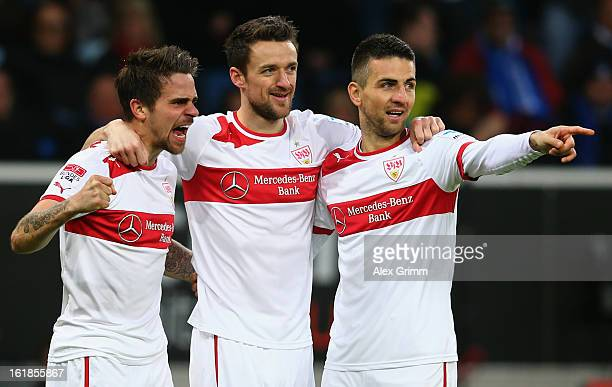 Martin Harnik of Stuttgart celebrates his team's first goal with team mates Christian Gentner and Vedad Ibisevic during the Bundesliga match between...