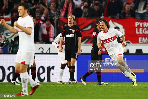 Martin Harnik of Stuttgart celebrates his team's second goal during the Bundesliga match between VfB Stuttgart and FC Augsburg at MercedesBenz Arena...
