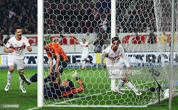 Martin Harnik of Stuttgart celebrates his team's second goal during the Bundesliga match between VfB Stuttgart and SV Werder Bremen at MercedesBenz...