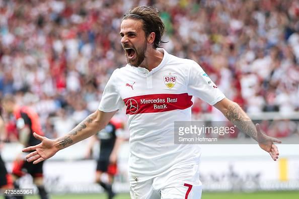 Martin Harnik of Stuttgart celebrates his team's second goal during the Bundesliga match between VfB Stuttgart and Hamburger SV at MercedesBenz Arena...