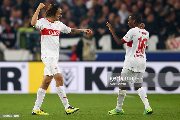 Martin Harnik of Stuttgart celebrates his team's second goal with team mate Ibrahima Traore during the Bundesliga match between VfB Stuttgart and FC...